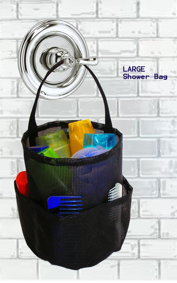 Mesh Shower Bag – Large Black – By Saltwater Canvas, LLC. The Original