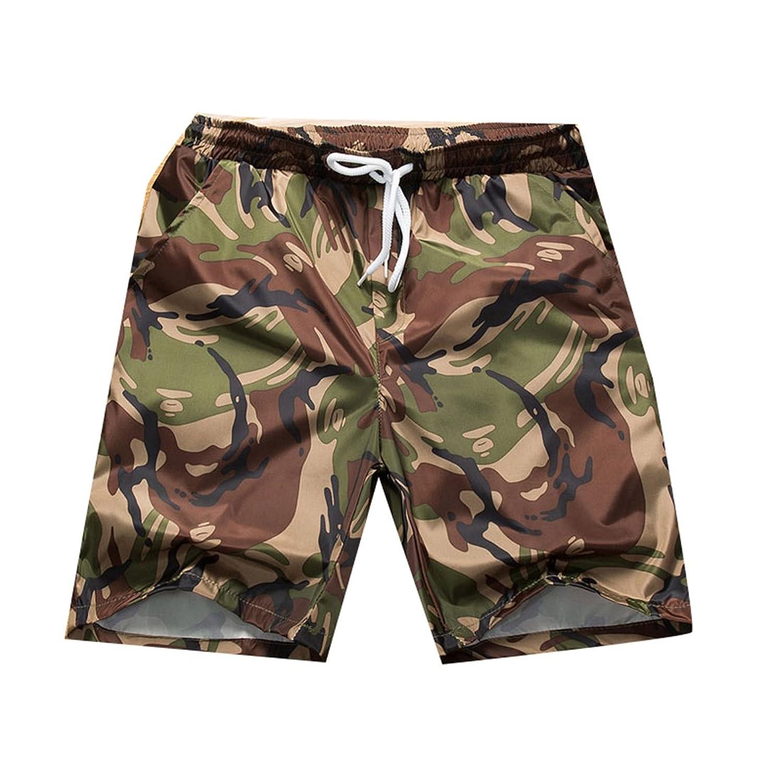 KLJR Mens Drawstring Waist Camo Printed Regular Fit Beach Shorts
