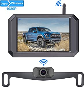 LeeKooLuu F09 HD 1080P Digital Wireless Backup Camera 5'' Display License Plate Hitch Rear View Camera for Trucks,Cars,Campers,Vans IP69 Waterproof Front View Super Night Vision Clear