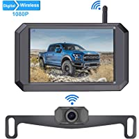 LeeKooLuu F09 HD 1080P Digital Wireless Backup Camera 5'' Display License Plate Hitch Rear View Camera for Trucks,Cars,Campers,Vans IP69 Waterproof Front View Super Night Vision Clear