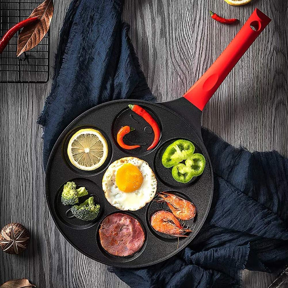 Baking molds,longdelaY6 7-Grid Smiley Face Animal Pancake Pan Emoji Breakfast Aluminum Nonstick Maker - Black Red A by longdelaY6 (Image #6)