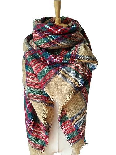 SOJOS Grande Tartan modo delle donne calda coperta dell'involucro della sciarpa dello scialle