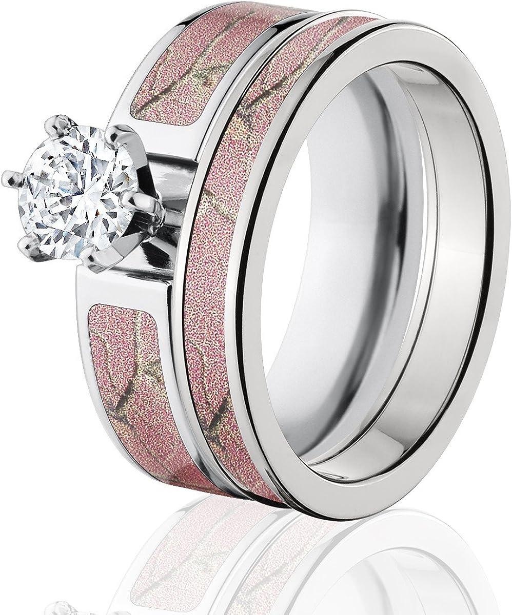 Amazon Com Realtree Camo Bridal Set Camo Wedding Rings Ap Pink