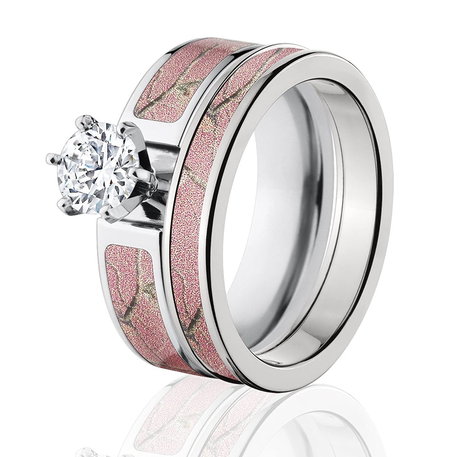 diamond engagement for pink camouflage wedding her rings