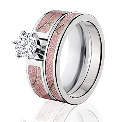 realtree camo bridal set camo wedding rings ap pink camo rings - Pink Wedding Rings
