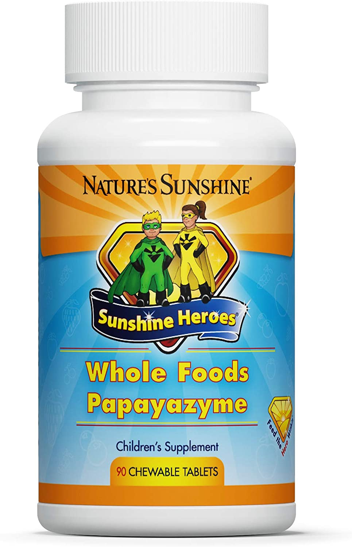 Nature's Sunshine, Sunshine Heroes Whole Foods Papayazyme 90 Chewable Tablets