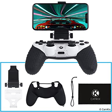 CamKix® Compatible Phone Mount and Skin Replacement for PS4 Controller -  Ideal for PS4 Remote Play/Mobile Gaming - Adjustable Viewing Angle and Grip