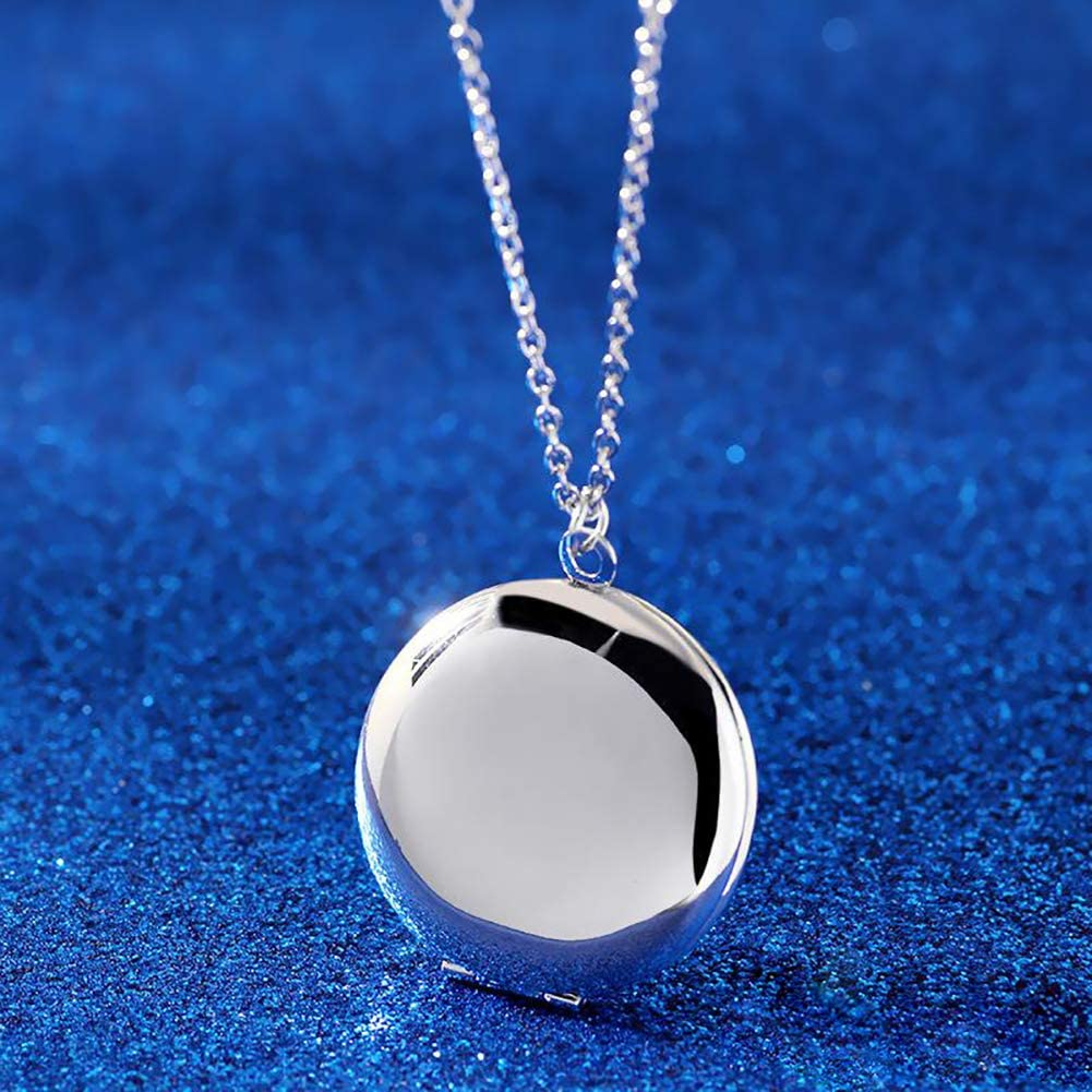 LuxglitterLin Round Locket Photo Frame 3 Colors Open Pendant That Holds Pictures Circle Necklace Living Memory Jewelry