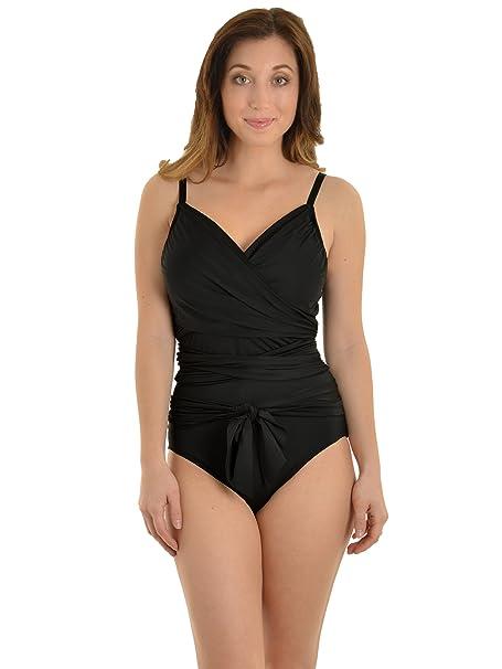Amazon.com: Leilani Mujer Traje de baño 1 pieza Wrap Negro ...
