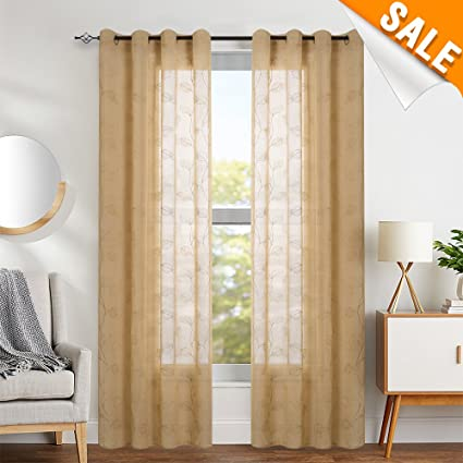 Captivating Sheer Curtains For Living Room Curtains Leaf Embroidered Window Curtains  Botanical Semi Sheer Curtains 1 Pair