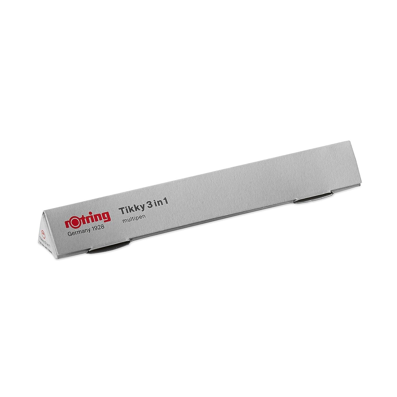 inchiostro nero e rosso corpo bianco 0,5 mm Rotring Tikky 3 in 1 matita portamina//penna a sfera//penna evidenziatore