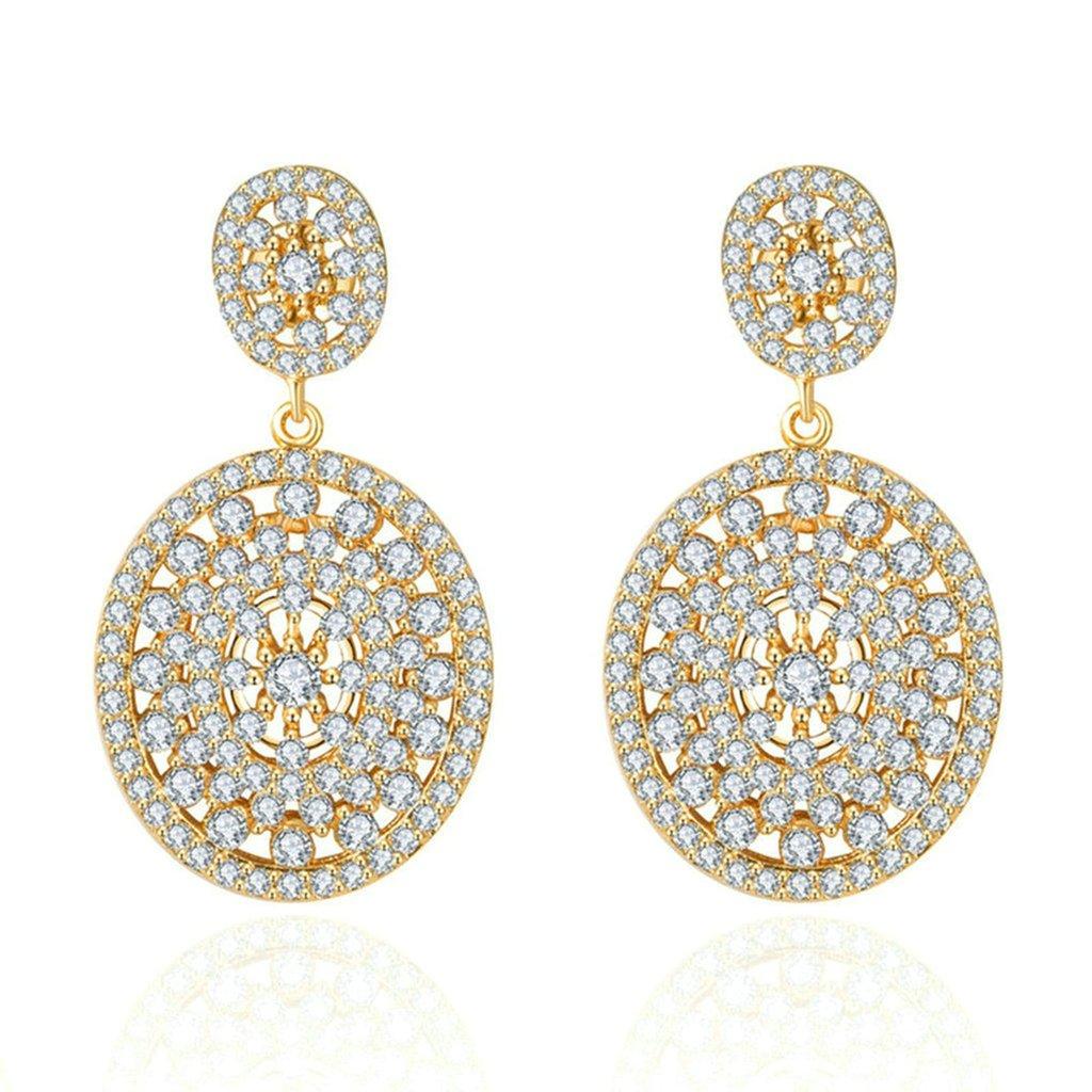 Daesar Gold Plated Earrings Womens Stud Earrings White Channel Rhinestone Earring Disc Dangle Earrings
