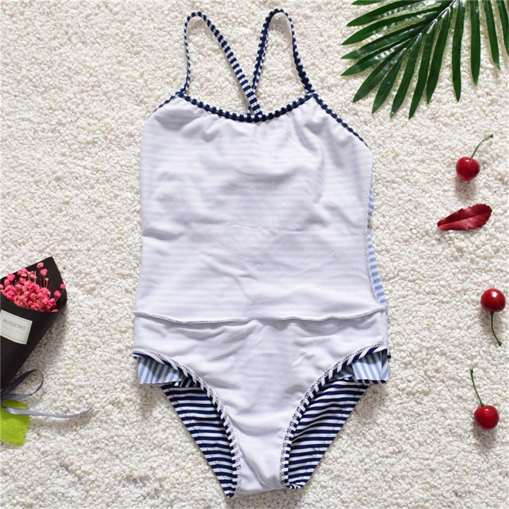 FeliciaJuan Beach Sport Banded One Piece Swimsuit Girls Kids Stripe One-Piece Swimsuit Red Heart Shape in Front Chest Princess Swimwear 2-8Y