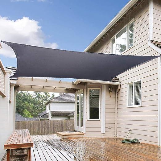 Flei Toldo Vela de Sombra Cuadrado, Protección Rayos UV, Resistente a la Intemperie Resistente al Agua Proporciona Amplia Sombra en tu jardín o terraza - Gris Oscuro 5.5x7m: Amazon.es: Hogar