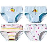 Cocaker 4-Packs Girls' Underwear Hipster Knickers Briefs Print Comfort Cotton Umbrella Rainbow