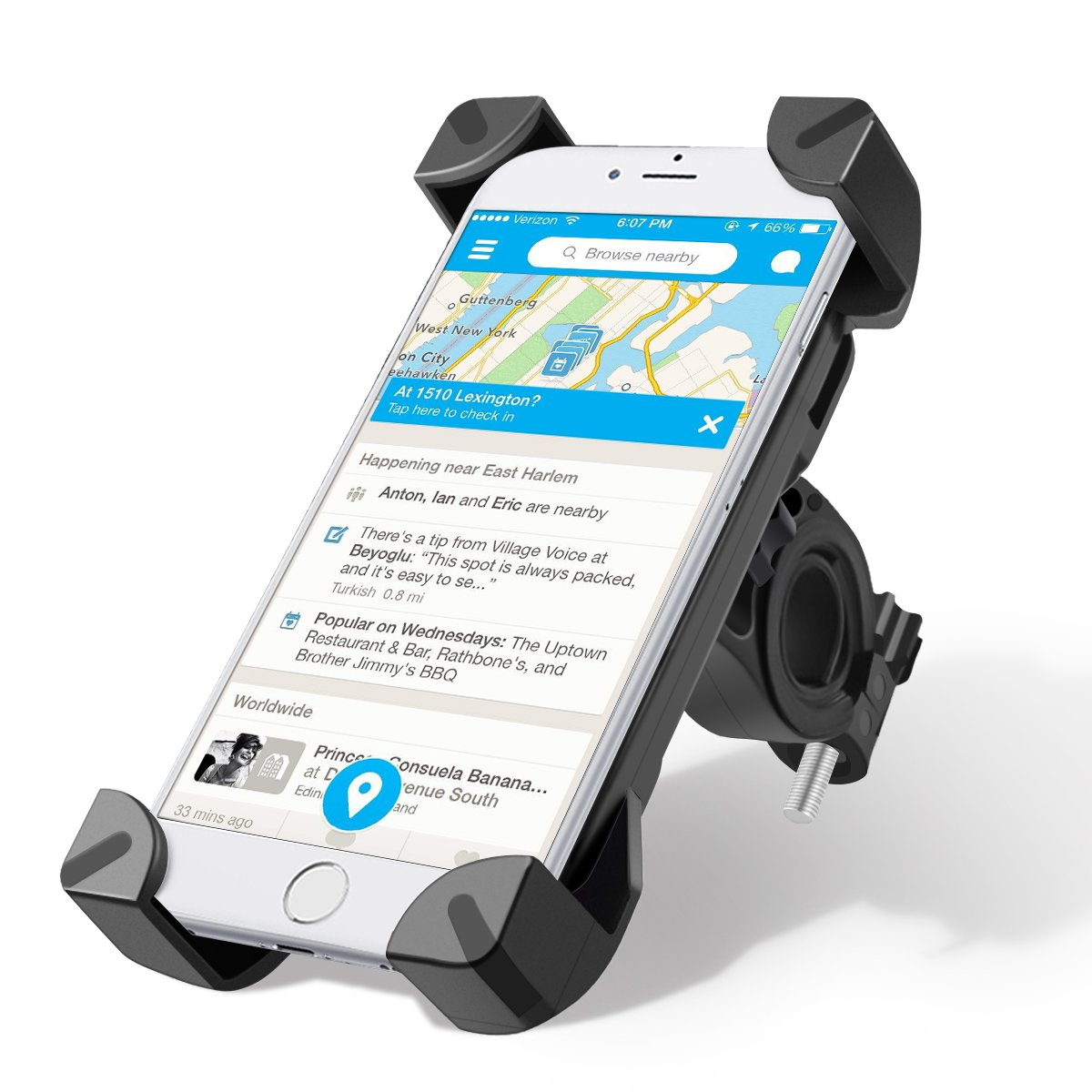 Soporte mó vil Bicicleta, Wrcibo Montura Soporte Universal de Bicicleta ajustable de Telé fono para el smartphone iPhone GPS (Negro) Wrcibo Montura Soporte Universal de Bicicleta ajustable de Teléfono para el smartphone iPhone GPS (Negro) 003