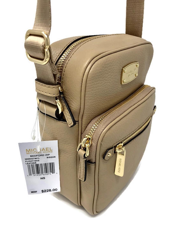 ebde8db728 Amazon.com  MICHAEL MICHAEL KORS LEATHER BEDFORD ZIP BISQUE FLIGHT MESSENGER  CROSSBODY BAG  Shoes