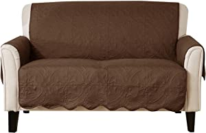 Great Bay Home Medallion Stitched Solid Furniture Protector. Stain Resistant Durable Furniture Protector. Elenor Collection. (Loveseat, Chocolate/Taupe)