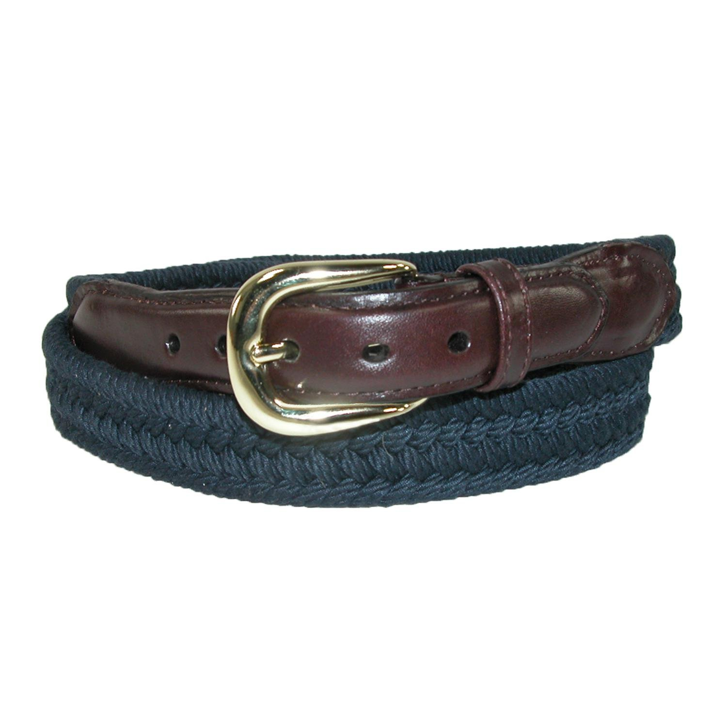 Rogers-Whitley Men's Cotton with Leather Trim Braided Belt, 34, Navy