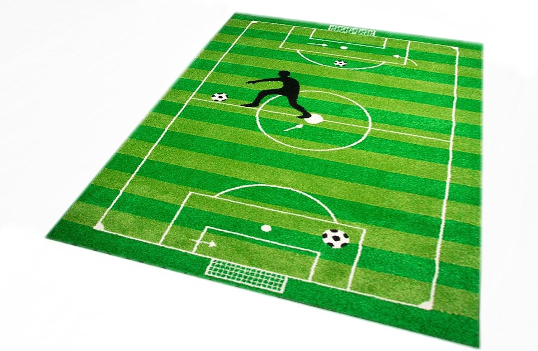 Tapis enfants Jeu de tapis enfants tapis tapis de football en vert lime noir et blanc Gr/ö/ße 80x150 cm