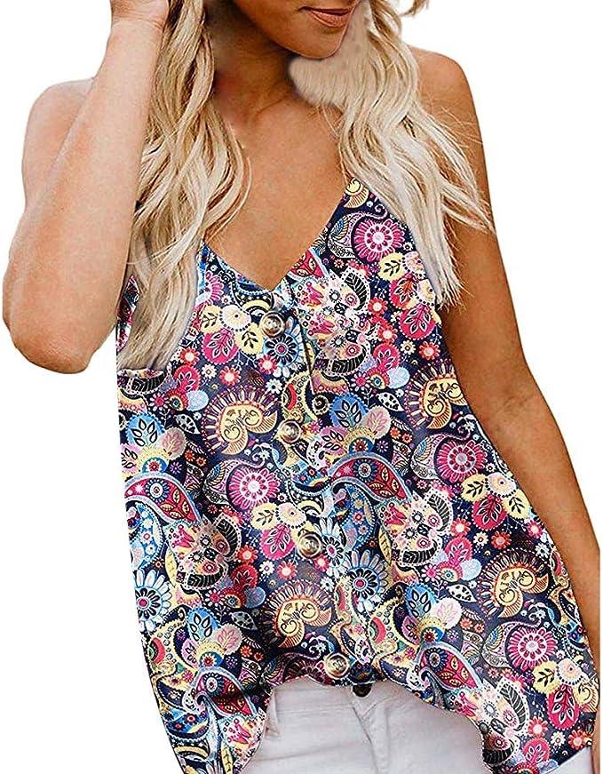 Lilicat Donna Chiffon in Senza Maniche Camicia Camicetta Casual Top Tank Gilet da Donna Senza Maniche con Stampa Scollo A V E Bottoni Elegante Stile Boh/émien