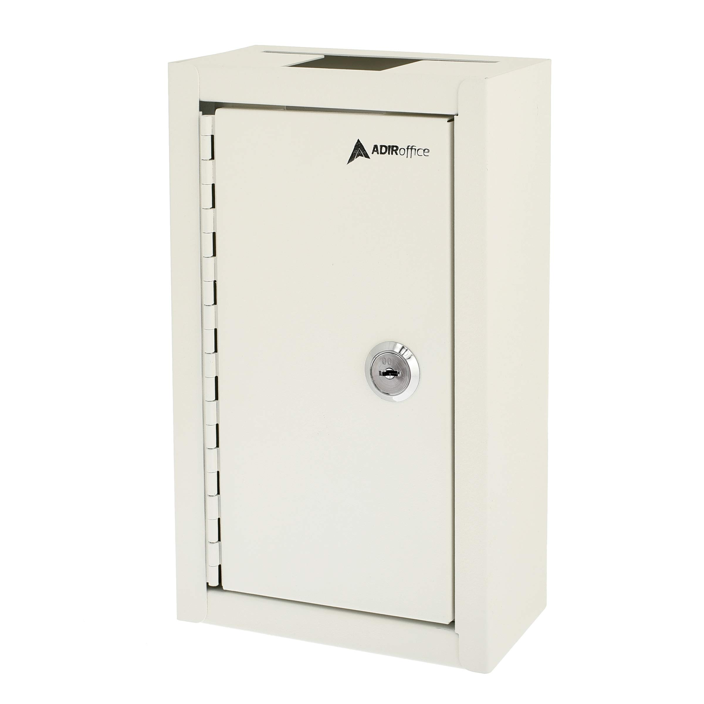 AdirOffice Large Key Drop Box - Large Capacity Commercial Grade Storage Box - Safe & Secure Parcel & Packages - for Home & Business Use (White)