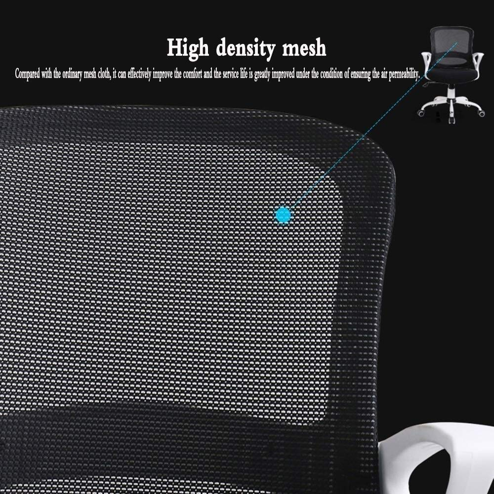 XKKD stol hem kontor skrivbord stol båge ryggstöd hem arbetsrum stol triangel armstöd och ländrygg stöd rosett nät stol bärkapacitet 150 kg (färg: svart) Svart