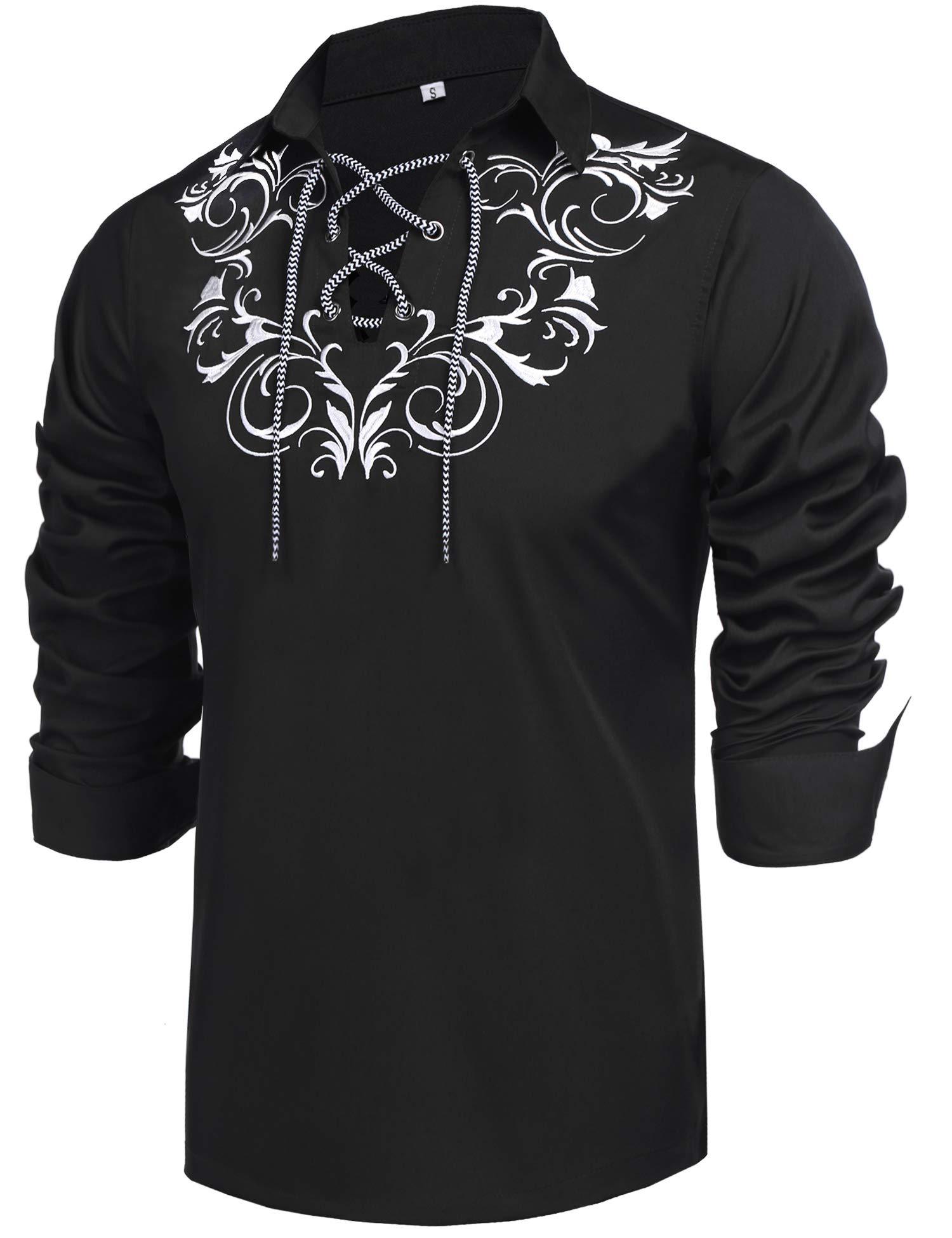 Daupanzees Mens Scottish Jacobite Ghillie Kilt Shirt Casual Long Sleeve Shirt Black