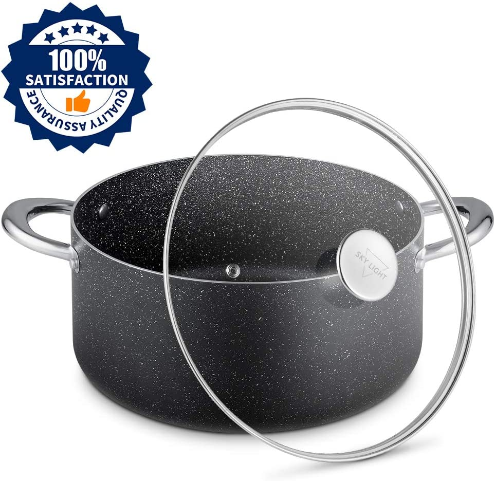 Stock Pot 6 Quart, Nonstick Dutch Oven with Tempered Glass Lid, Stone-Derived Granite Coating No-stick Cooking Pot, Induction Compatible, Oven Safe, Dishwasher Safe/Gift Box Included