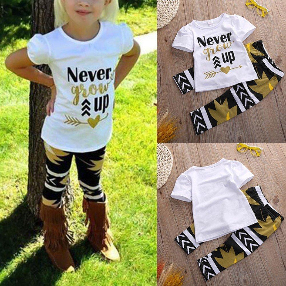 Weixinbuy Little Girls Cotton 1 Top 1 Long Pants 2 Pieces Clothes Sets