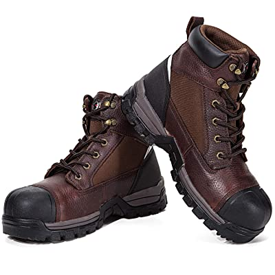 ROCKROOSTER Work Boots for Men, Composite Toe, 6 inch, Slip Resistant Safety Oiled Leather Shoes, Waterproof, Anti-Puncture, Breathable, Quick Dry, Anti-Fatigue(AT872, 8): Shoes