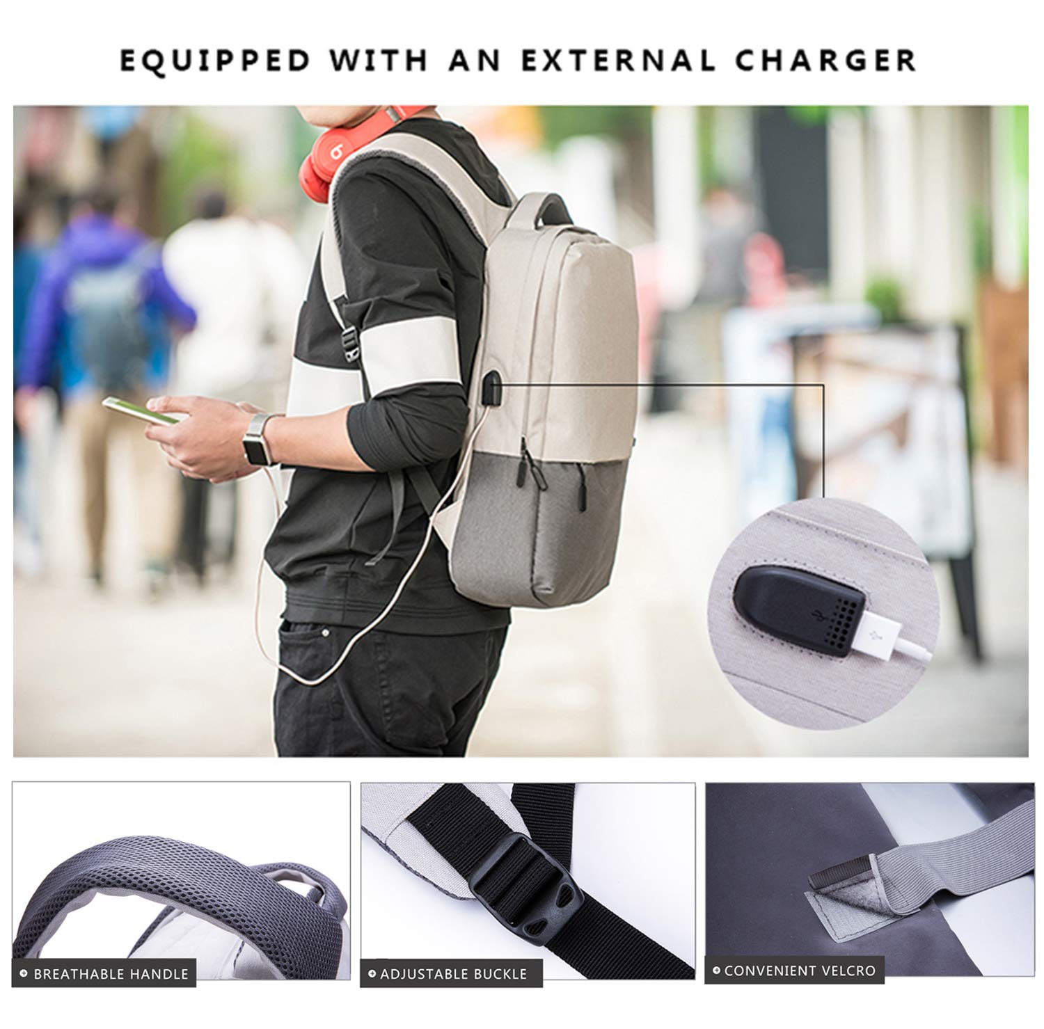 Laptop Backpack, Travel Computer Bag with USB Charging Port, School Backpack, Fits up to 15.6 inch Tablet Notebook for Work Business College