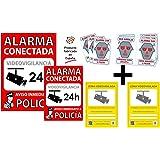 Pack de Carteles disuasorios y pegatinas de seguridad para interior/exterior