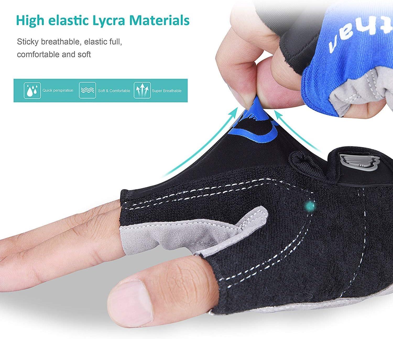 Anti-Slip Shock Breathable Lycra Gel Mountain Bike Gloves Morethan Cycling Gloves for Men Half Finger