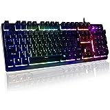 HORSKY ゲーミングキーボード 日本語配列 usbキーボード メカニカルな触感 7色LEDバックライト 防水機能 pc 有線キーボード ゲームやオフィスに最適 ブラック