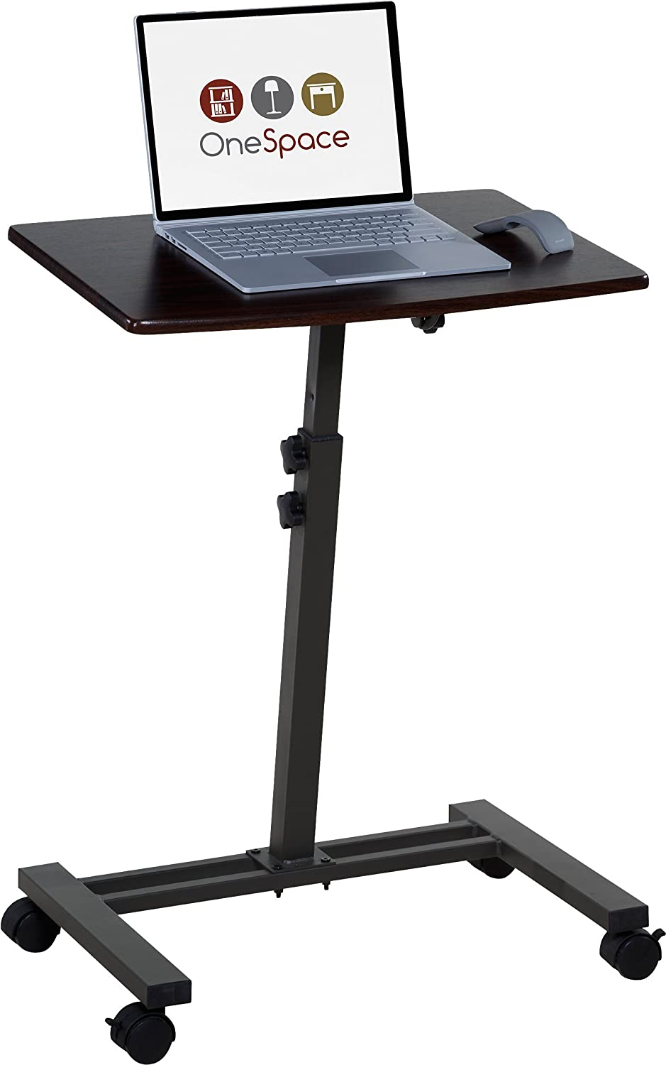 OneSpace Angle and Height Adjustable Mobile Laptop Computer Desk, Single Surface, Dark Walnut