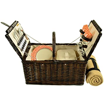 ad4241732 Image Unavailable. Image not available for. Color  Picnic at Ascot Surrey  Willow Picnic Basket With Blanket