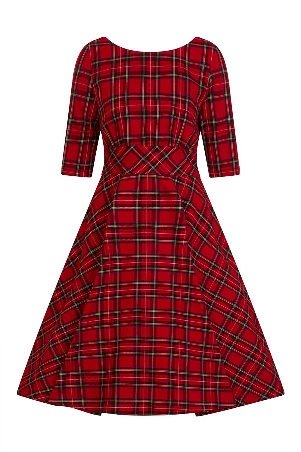 Vintage Tea Dresses, Floral Tea Dresses, Tea Length Dresses Hell Bunny Irvine Tartan 1950s Vintage Retro Dress XS-4XL $72.99 AT vintagedancer.com