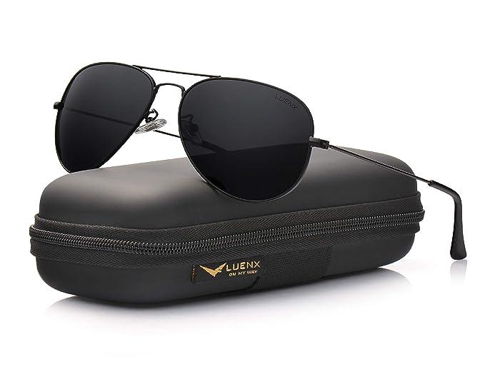 LUENX Hombre & Mujer Gafas de sol Aviador polarizado con estuche - UV 400 protección Marrón Lente Marco de metal 60mm