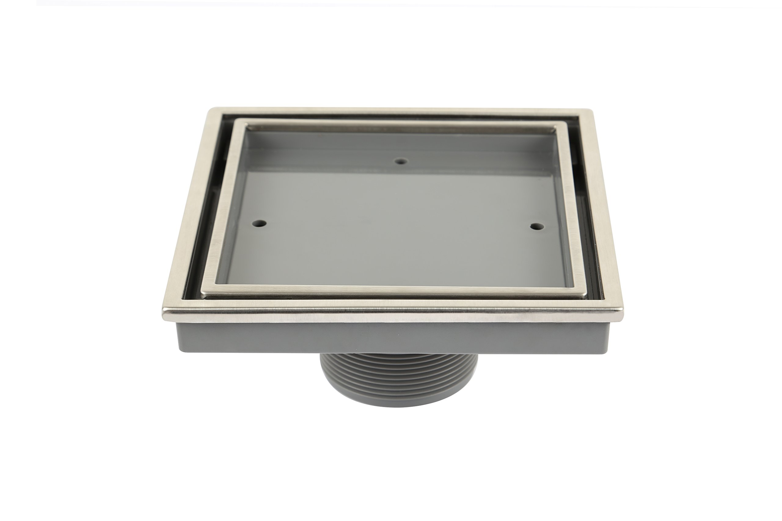 QM Tile-In Center/Square Shower Drain, Polished Stainless Steel Marine 316 Frame + ABS, Lagos Series Veil Line, Kit includes: Hair Strainer, Key