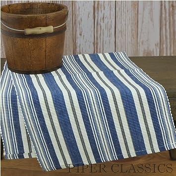 Hampton Table Runner 54u0026quot; Ocean Blue Sand Tan White Striped Country  Nautical Beach Home Décor