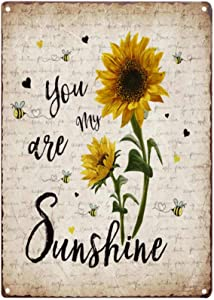 TISOSO You are My Sunshine Retro Sunflower Vintage Tin Bar Sign Primitive Country Farmhouse Home Decor for Living Room, Laundry Room, Bathroom Decoration 8X12Inch
