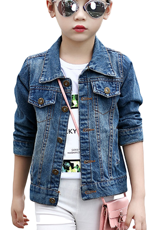 Aulase Denim Jackets Girl Denim Jackets Classic Basic Button Down Coat Girls' Outwear 10-12Y