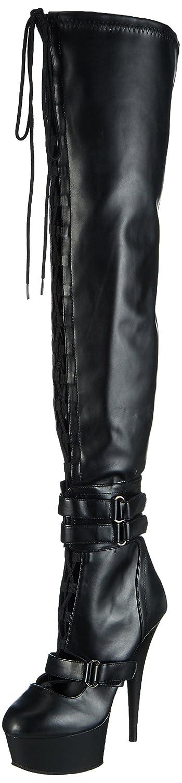 Pleaser Damen Delight-3029 Kurzschaft Stiefel Schwarz (Schwarz (Blk Str Faux Leather/Blk Matte))