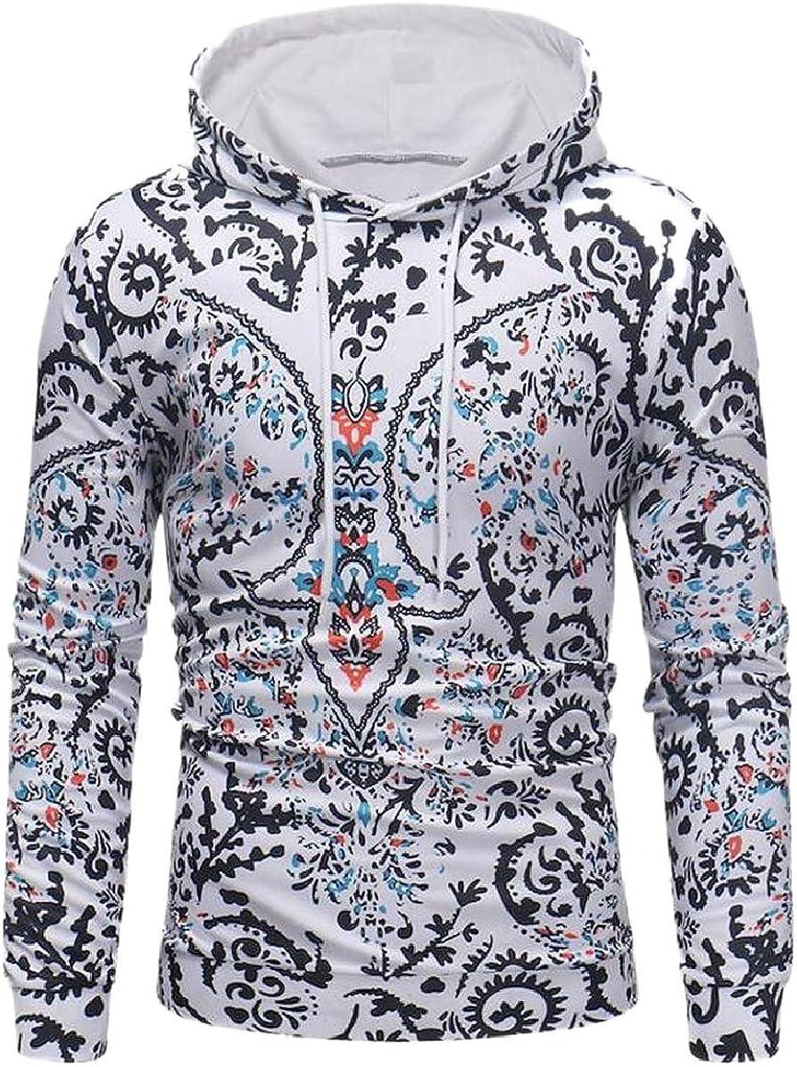 ONTBYB Men Digital Printed Casual Fall Winter Long-Sleeve Fleece Sweatshirt
