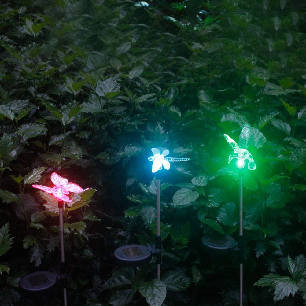 3Piezas Luces Solares Focos LED Luz Solar Exterior Jardin Decoracion, Estacas con Luces LED Cambiacolor a Energía Solar en Forma de Libélula, Mariposa y Colibrí de NORDSD: Amazon.es: Hogar