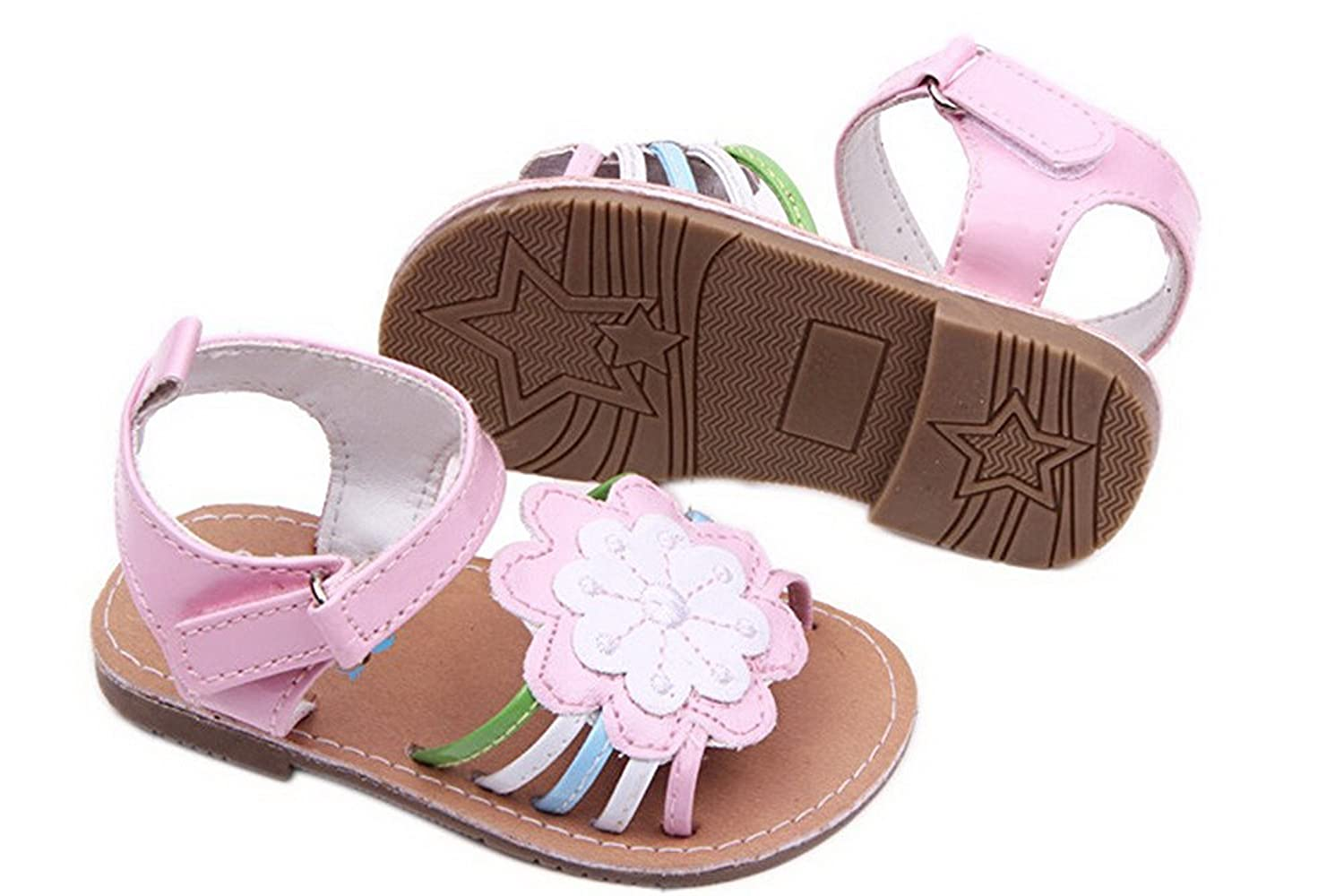 b7dc8066c BABY-QQ hardwearing Infant Toddler Girl Hard Sole Summer Outdoor Sandals  First Walking Shoes