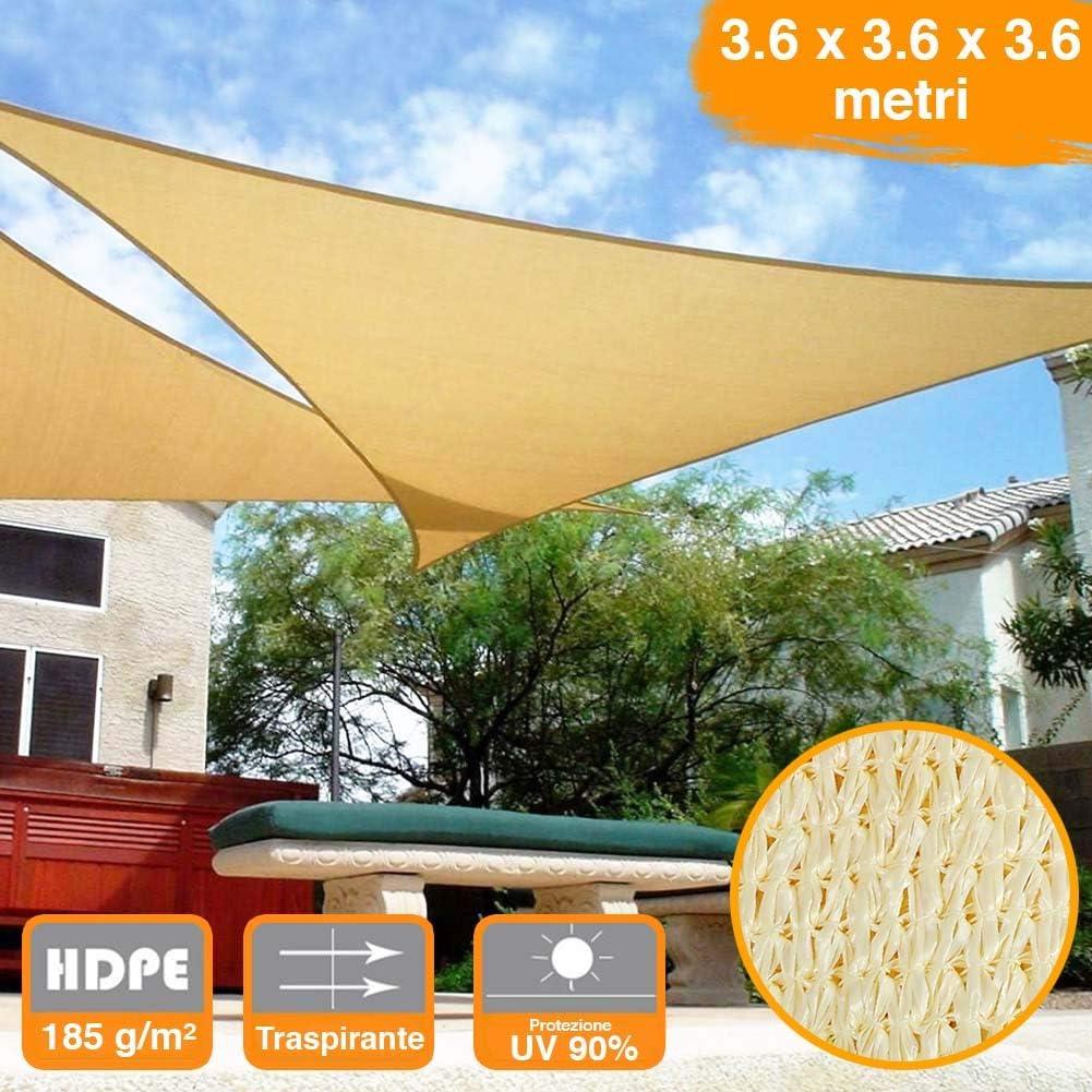BAKAJI Vela Telo Parasole Tenda Triangolare Ombreggiante in HDPE 4x4x4 Mt Resistente Protezione UV 90/% per Ombra Giardino Terrazzo con Aggancio Occhielli Beige 4 x 4 x 4 mt