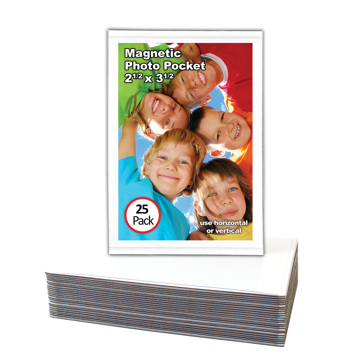Magtech Magnetic Photo Pocket Picture Frame, White, Holds 2.5 x 3.5 Inches Photos, 25 Pack (12325)
