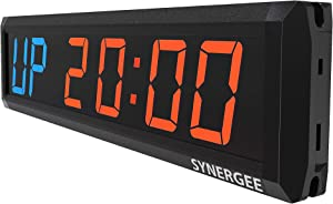 Synergee Premium LED Programmable Crossfit Interval Wall Timers Gym Timers with Wireless Remote. Tabata, EMOTM, Stopwatch, Count Up/Down, MMA, Clock.